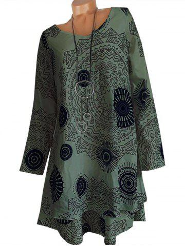 Printed Long Sleeve Trapeze Dress