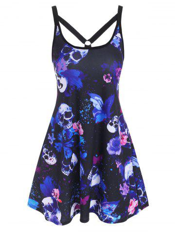O Ring Strappy Skull Butterfly Print Tank Dress