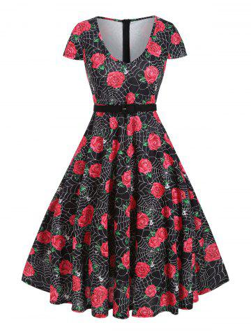 Halloween Spider Web Rose Print Cap Sleeve Dress
