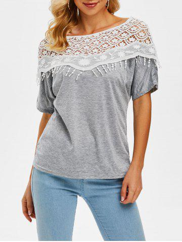 Heathered Crochet Lace Panel Boat Neck Tee