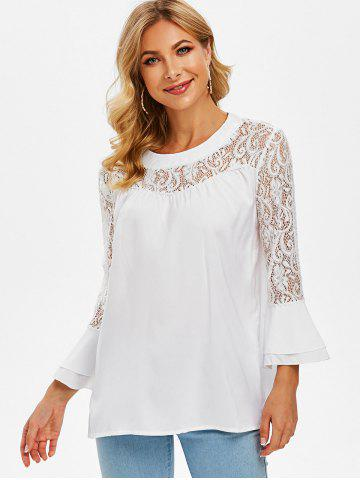 Lace Panel Layered Flare Sleeve Blouse