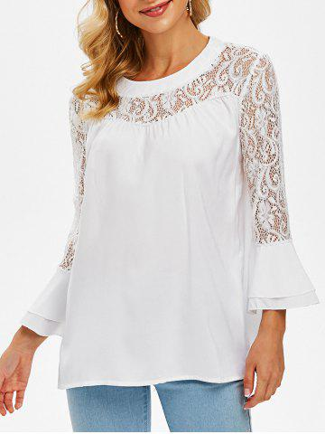 Lace Panel Layered Flare Sleeve Blouse - WHITE - 2XL