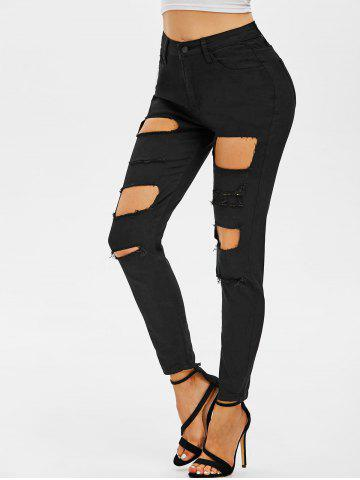 Distressed Skinny Zipper Fly Jeans