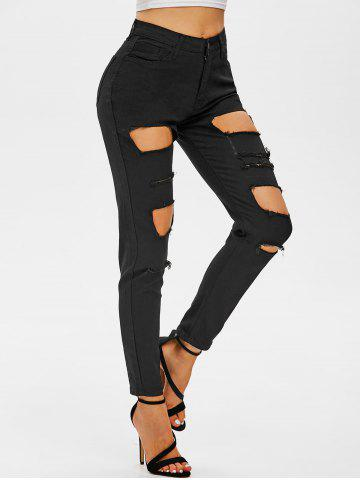 Distressed Skinny Zipper Fly Jeans - BLACK - XXL