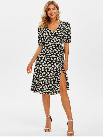 Print Daisy Flower Wrap Puff Sleeve Dress