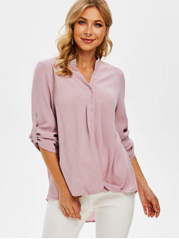 Long Sleeve Twist Front High Low Blouse