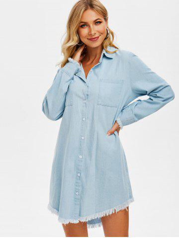 Frayed Front Pocket Denim Shirt Dress