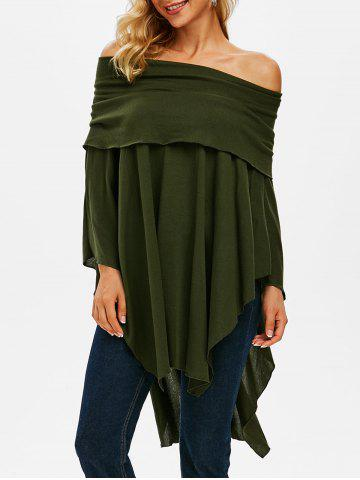 Off Shoulder Foldover Poncho Sweater - DEEP GREEN - 3XL