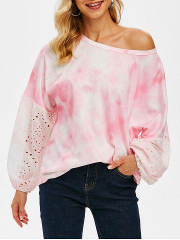 Tie Dye Broderie Anglaise Sleeves Batwing Long Sleeve Top - LIGHT PINK - M
