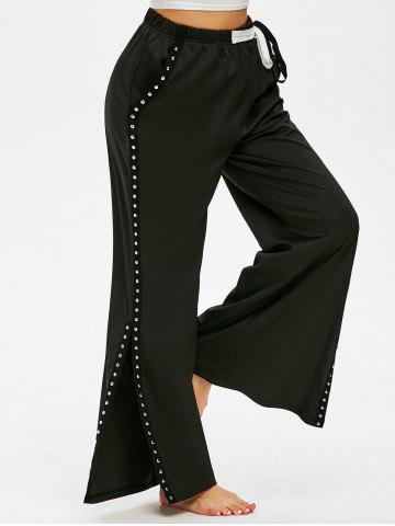 Waist Tie Rivets Side Slit Wide Leg Pants