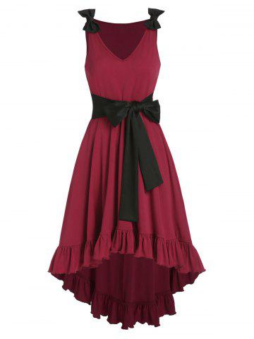 Bowknot Ruffle High Low A Line Dress