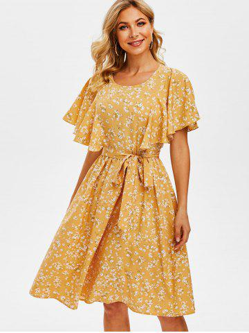 Tiny Floral Print Cut Out Butterfly Sleeve Dress