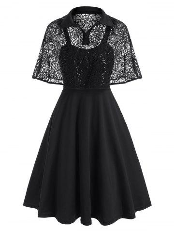 Halloween Sequined Lace Spider Web Cape Dress - BLACK - 3XL