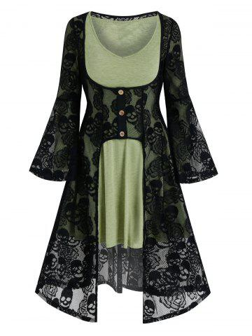 Halloween Skull Lace Cardigan and Long Sleeve Flare Dress - MULTI-A - 3XL