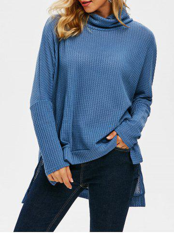 Drop Shoulder Dip Hem Slit Oversize Knitwear