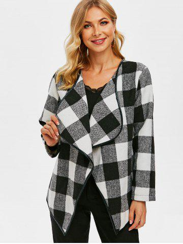 Checked Binding Draped Tweed Jacket