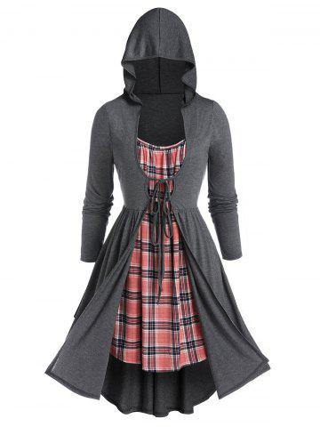 Plus Size Plaid Hooded 2 In 1 Tie Overlap Dress - CARBON GRAY - 1X