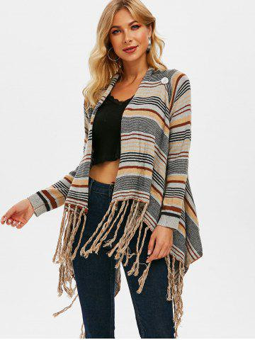 Draped Front Fringed Striped Cardigan