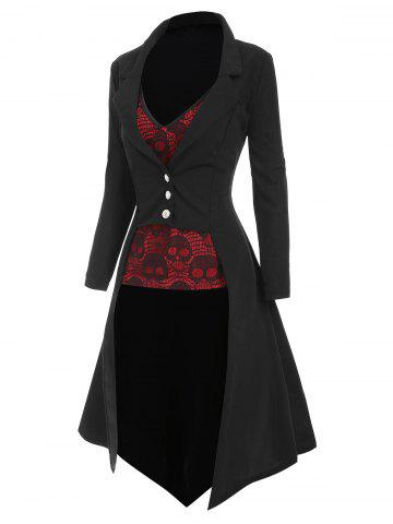 Halloween Lapel High Low Trench Coat with Skull Lace Camisole - BLACK - 2XL
