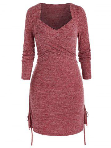 Plus Size Crossover Cinched Tie Ruched Knit Dress - CHERRY RED - L