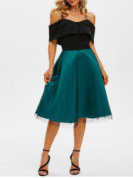 Lace Overlay Cami Cold Shoulder Colorblock Dress -