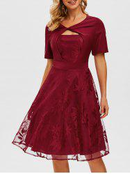 Twisted Keyhole Lace Overlay Dress -
