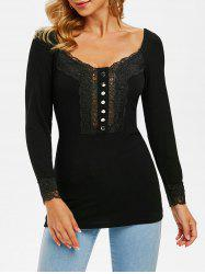 Lace Panel Button Embellished Ribbed Knitwear -