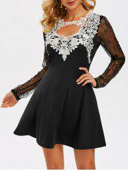 Cut Out Lace Insert Prom Dress -