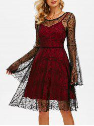 Halloween Spider Web Lace Dress with Plain Cami Dress -