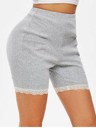 High Waisted Lace Trim Mini Shorts -
