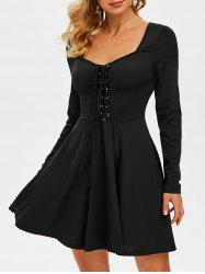 Lace-up Front Long Sleeve Flare Dress -