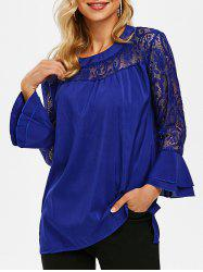 Lace Panel Layered Flare Sleeve Blouse -