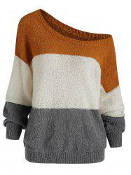 Drop Shoulder Three Tone Jumper Sweater -