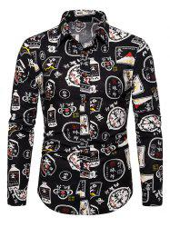 Chinese Characters Pattern Vintage Long Sleeve Shirt -