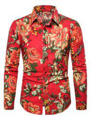 Casual Peony Flower Print Button Up Shirt -