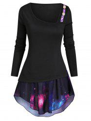 Button Embellished Long Sleeve T-shirt with Galaxy Camisole -