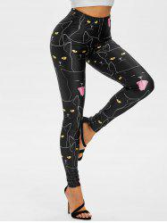 Halloween Cats Pattern High Rise Leggings -