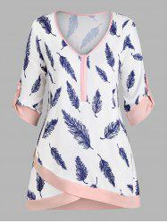 Plus Size Feather Print Roll Up Sleeve Top -