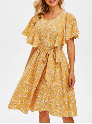 Tiny Floral Print Cut Out Butterfly Sleeve Dress -