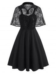 Halloween Sequined Lace Spider Web Cape Dress -