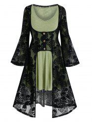Halloween Skull Lace Cardigan and Long Sleeve Flare Dress -