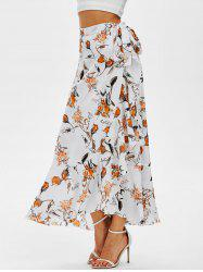 Flower Print Flounced Wrap Maxi Skirt -
