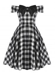 Plus Size Bowknot Off Shoulder Checked Dress -