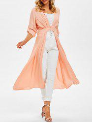Manteau Jupé Boutonné Fendu en Avant - Orange Rose M
