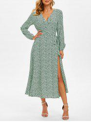 Floral Print Long Sleeve Belted Surplice Dress -