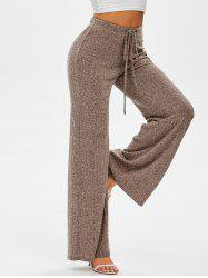 Drawstring Ribbed Wide Leg Pants -