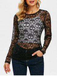 Halloween Skull Pattern See Through Lace Top -