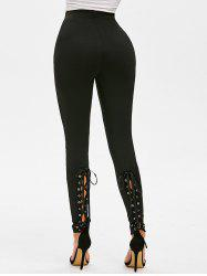 Plain Lace Up Pull On Skinny Pants -