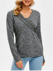 V Neck Cable Knit Heathered Knitwear -
