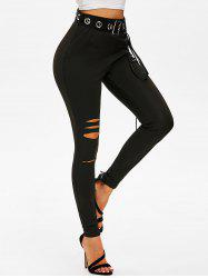 Ripped Lace-up Grommet Belted Skinny Pants -